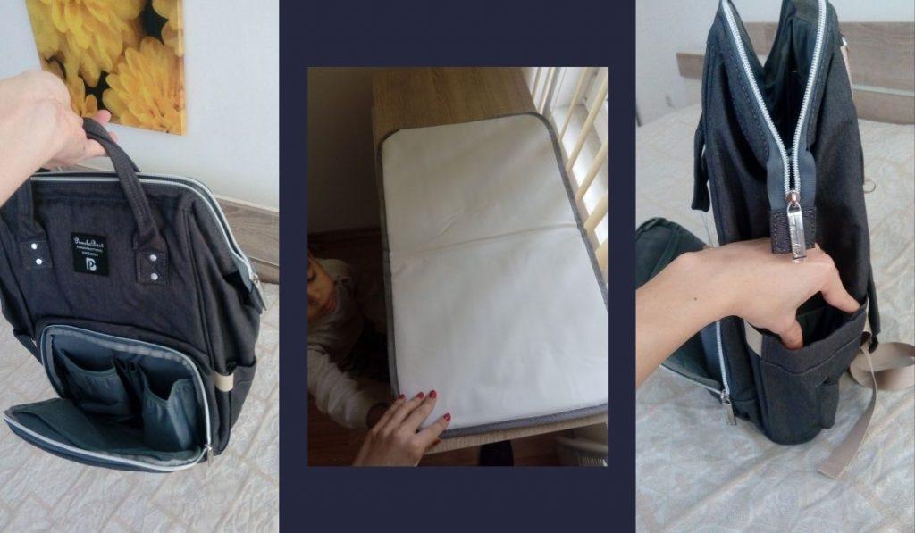 baby rucksack von pomelo best kaufen und testen - große wickelunterlage