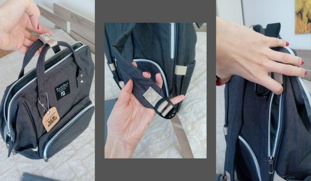 pomelo best wickelrucksack in dunkelgrau mein testbericht, viele fächer, leicht zu tragen