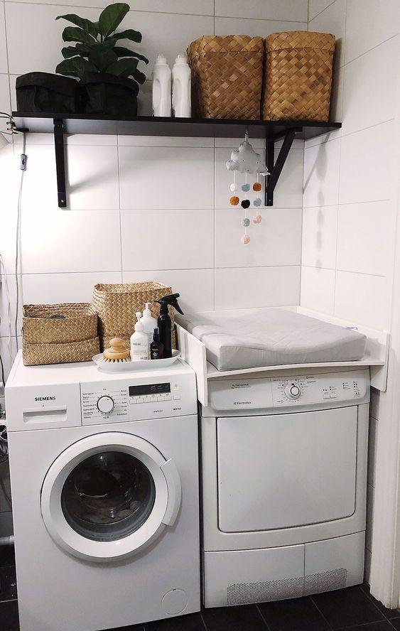 wickelaufsatz auf waschmaschine, wickelraum dekorieren und organisieren