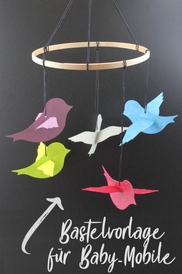 Baby mobile selber basteln origami vögel aus papier diy idee