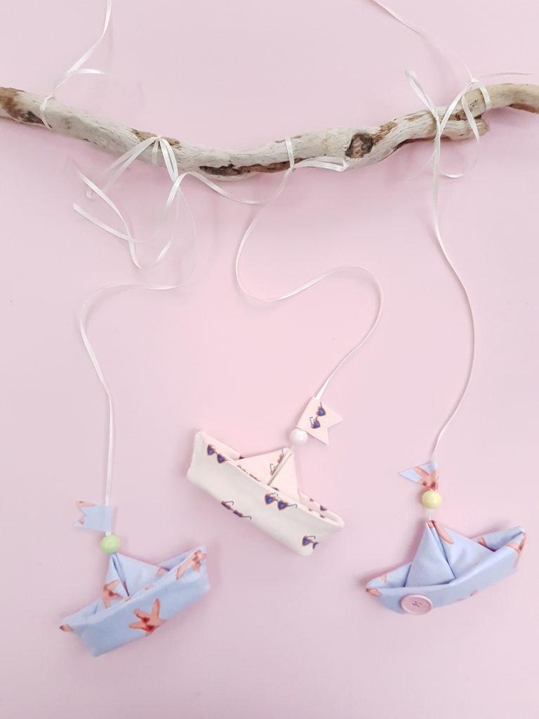 kleine süße schiffen selber nähen - als baby mobile für den wickeltisch oder bettchen im babyzimmer