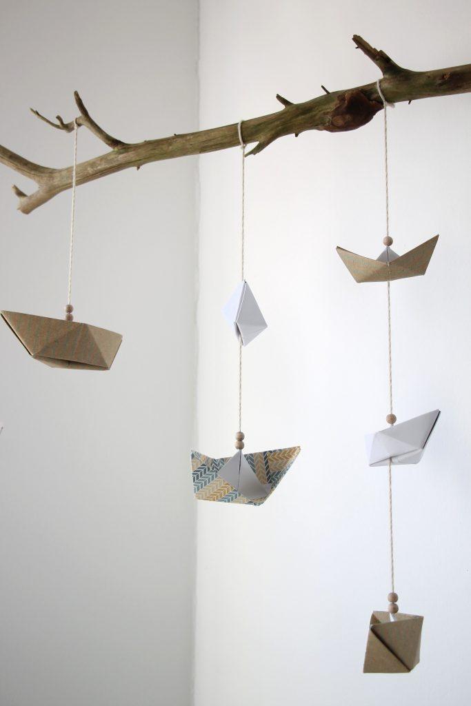 baby mobile für wickeltisch und babybett selber machen anleitung für schiffe aus papier