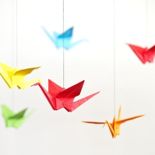 origami selber machen, gute idee für diy baby mobile