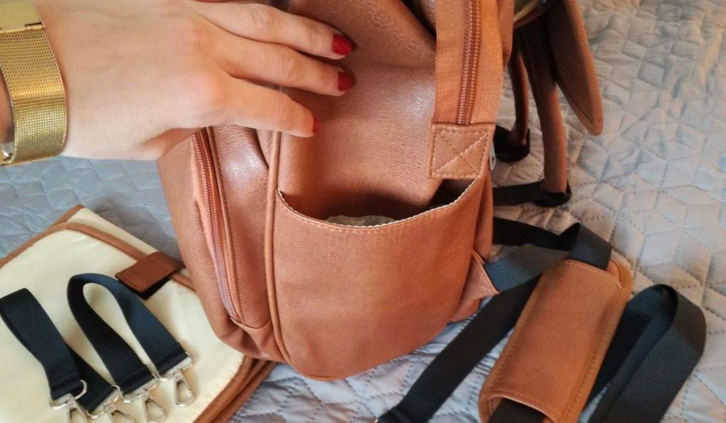 kiddie babywear windelrucksack in braun, aus leder - seitenfach