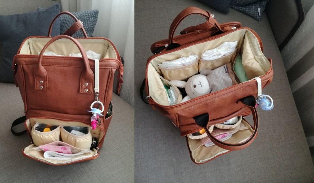 eingepackte leder wickeltasche mit rucksackfunktion - braune farbe - material vegan leder