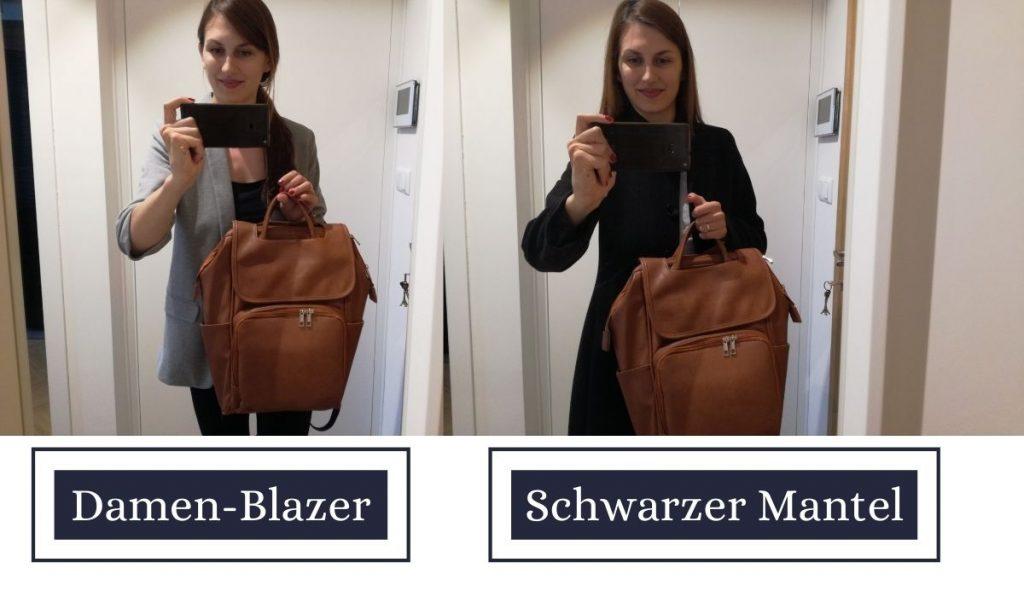 wickelrucksack braun leder - testbericht von einer mama - womit lässt sich die tasche kombinieren - schöne kleider