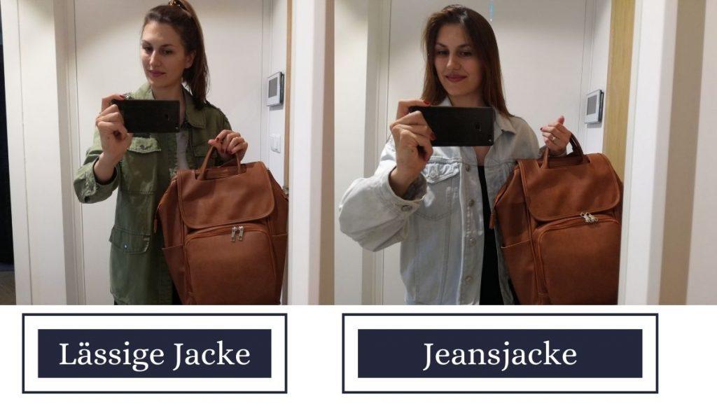 beispiele für gute oberteile für leder wickelrucksack in braun - wickeltasche im test