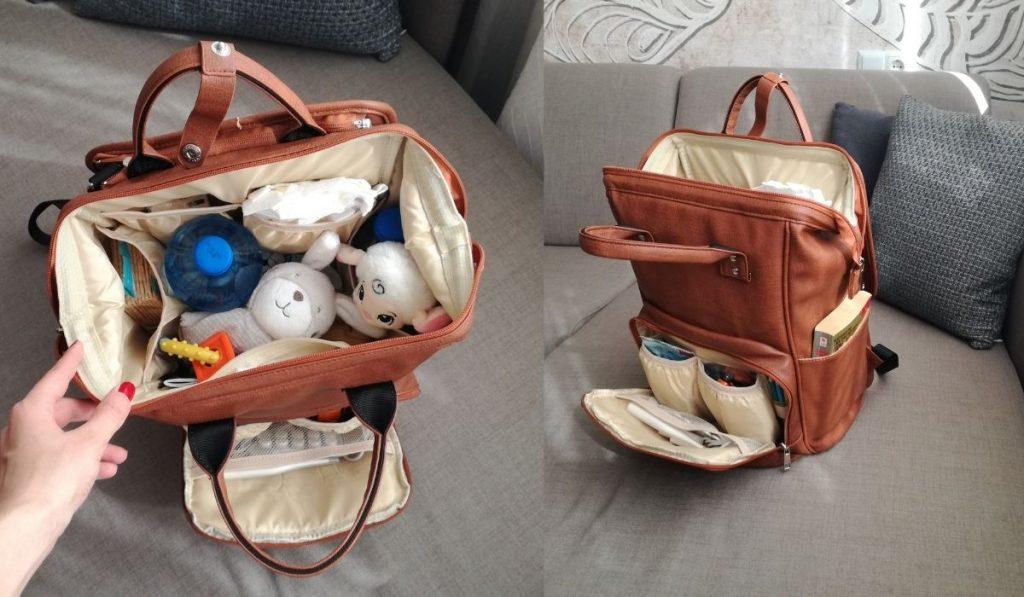 modischer stylischer baby rucksack aus leder - getestet - viel inhalt in der tasche
