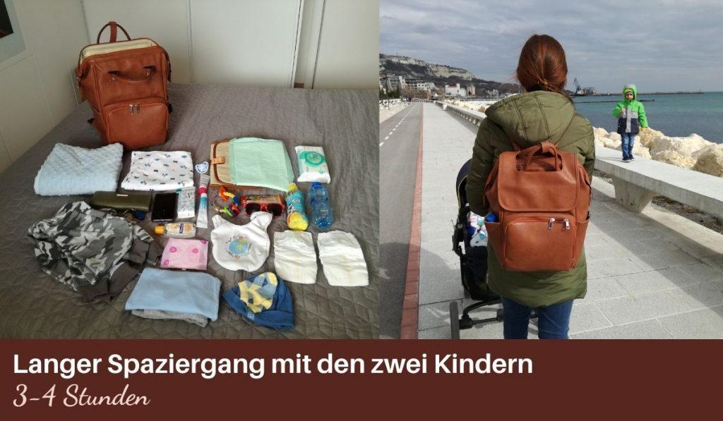 premium leder wickelrucksack von dem brand kiddie babywear im test - langer spaziergang mit kinderwagen